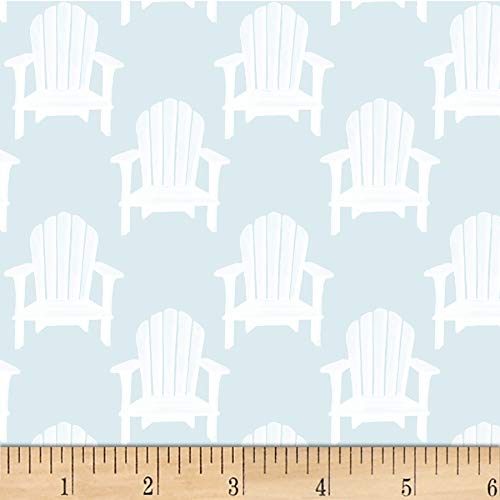 P&B Textiles Hot Dog Collection Toss Beach Chairs Light Blue Quilt Fabric