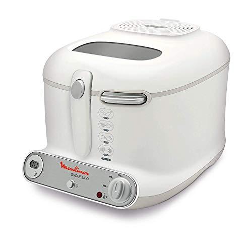 Moulinex AM3021 Fritteuse Super Uno / 1.800 Watt / Timer / wärmeisoliert / 1,5 kg Fassungsvermögen / weiß/hellgrau (Generalüberholt)