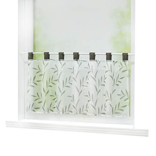 Joyswahl Scheibengardine Voile Bistrogardine »Celilie« mit Blätter Muster Transparente Gardine Stores HxB 60x90cm Grau 1er Pack
