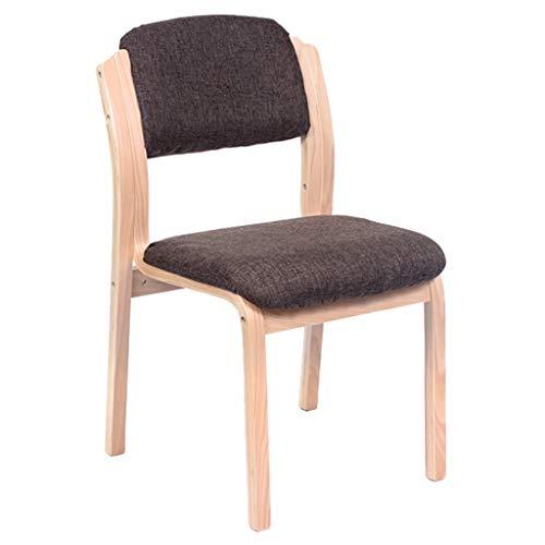 Bürostuhl Massivholz Rückenstütze Möbel Schreibtisch Esszimmerstuhl Rezeption Stuhl Stapelbar - Dunkelbraun