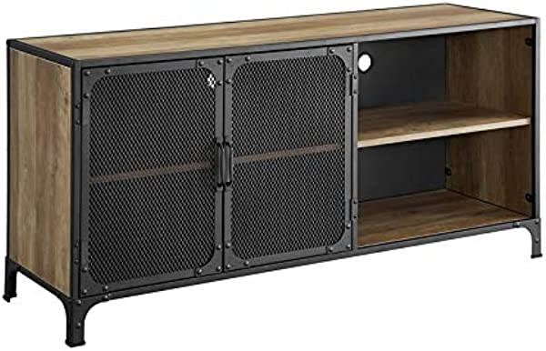 Walker Edison Furniture Company 52 Industrial Metal Wood TV Stand Reclaimed Barnwood