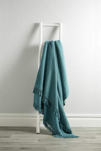 Olivia Rocco Lisbon Throw 100% Cotton Plain Honeycomb Sofa Bed Chair Cover Throws Tasselled Decorative Blanket, 127 x 152 cm (50