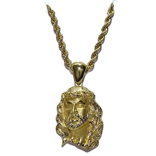 Never Say Never Cara de Cristo de Oro Amarillo de 18k con cordón salomónico de 3mm de Ancho de Oro...