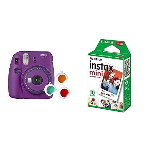Fujifilm Instax Mini 9 - Cámara instantanea, Morado + Pack de 10...