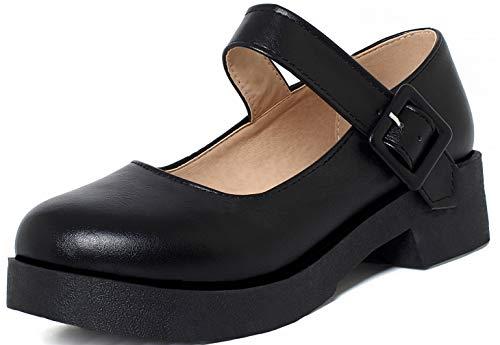 Caradise Womens Chunky Platform Mary Janes School Cosplay Uniform Shoes Size 10 B(M) US,Black