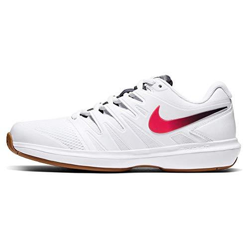 Nike Herren Air Zoom Prestige HC Tennisschuhe, Weiß (White/Laser Crimson-Gridiron-W 105), 43 EU