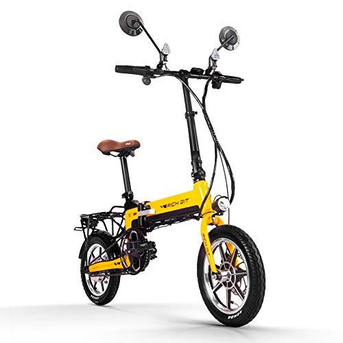 RICH BIT Bicicleta eléctrica Plegable para Adultos 250W36V Bicicleta de montaña con Motor sin escobillas y batería de Litio LG de 10.2Ah Bicicleta estática portátil (Amarillo)