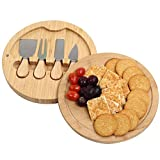 Grandma Shark Bamboo Cheese Platter Set, Fruit Food Board Set, Suitable use for picnics and Parties (Round)