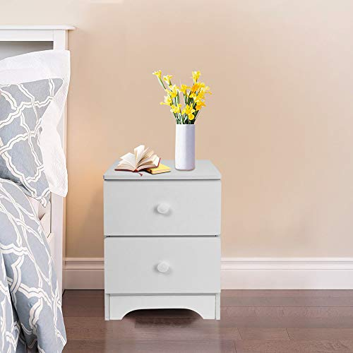 GONGting Modern Night Stand with 2 Drawers Bedroom Nightstand with Handle,Soft White Finish (Ship from USA!!!)