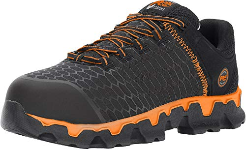 Timberland PRO Men's Powertrain Sport Alloy Toe EH Industrial & Construction Shoe, Black Synthetic/Orange, 10.5 M US