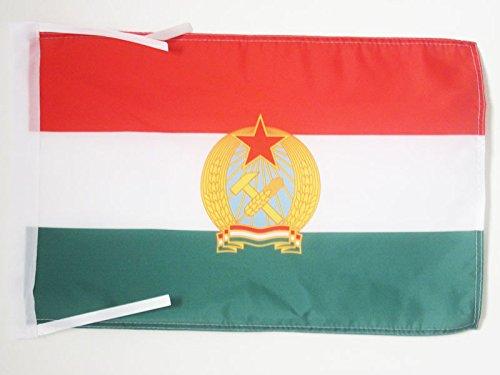 AZ FLAG Bandera de la REPÚBLICA Popular DE HUNGRÍA 1949-1956 45x30cm - BANDERINA HÚNGARA Antigua 30 x 45 cm cordeles