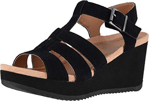 Vionic Women's Hoola Tawny T-Strap Wedge - Ladies Platform Sandal with Concealed Orthotic Arch Support Black Suede 7 M US