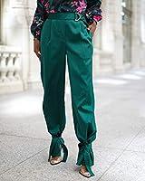 The Drop by @signedblake - Pantalón para mujer con lazo en el tobillo, talla S, color jade oscuro