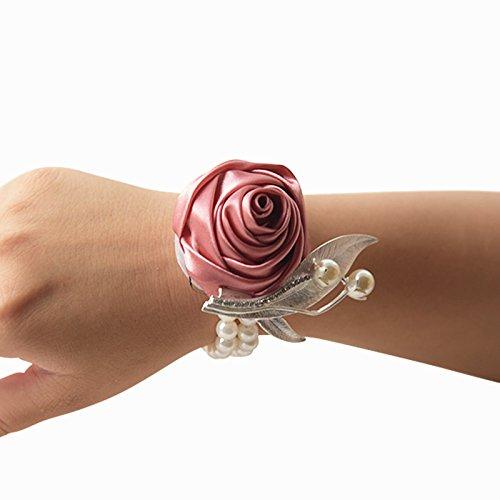 Groom mariée en satin Prom poignet corsage fleur mariage fête Décoration fleur bouquet pour poignet doré