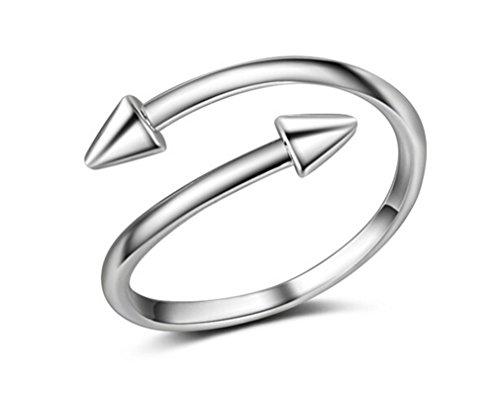 Boowhol - Anillo para mujer o niña, plata 925, diseño de clavo creativo, simple anillo índice, anillo ajustable