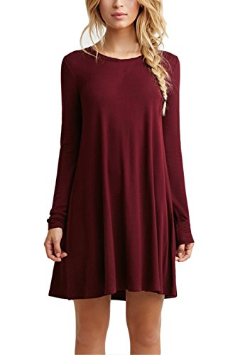 Simple T Shirt Dress Womens Dress Sleeve Plain Long Tshirt Casual,Burgundy,X-Large