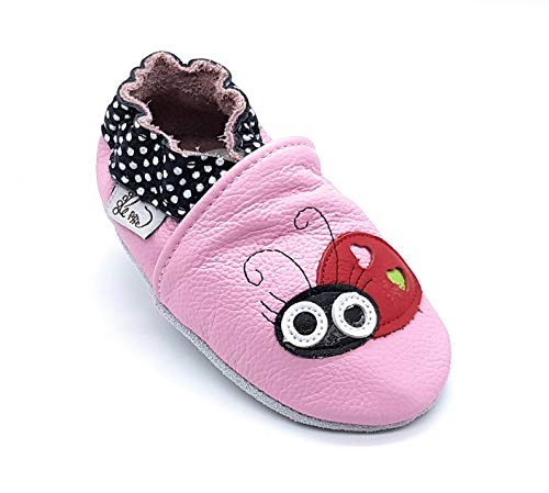 LEPEPPE - Scarpine in Pelle Prima Infanzia - Pantofole Scarpine Babucce - Neonato - Nido - Materne Danza - Primi Passi Fino al 32/33!!! Ladybug Coccinella (L (14 cm di suola9)