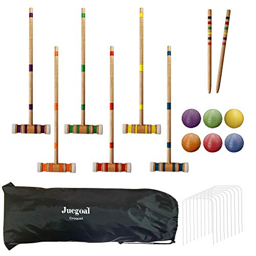 Juegoal Six Player Croquet Set with Drawstring Bag