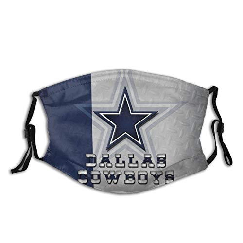 American Football Team Design Face Mask Reusable with Filter Washable Protection Mouth Sports Dallas Cow-boys Face Mask Running Fishing Balaclava Neck Gaiter for Man Women