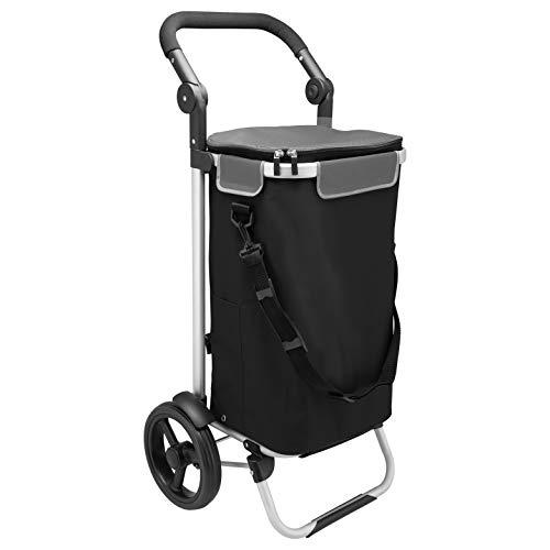 bremermann Einkaufstrolley JEEBEL, Handwagen, Einkaufswagen mit Abnehmbarer Tasche, Verstellbarer Griff (Schwarz)
