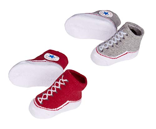 Converse Baby Bright Infant Booties (2 Pack) (Red(LC0001-G59)/Grey, 0-6 Months)