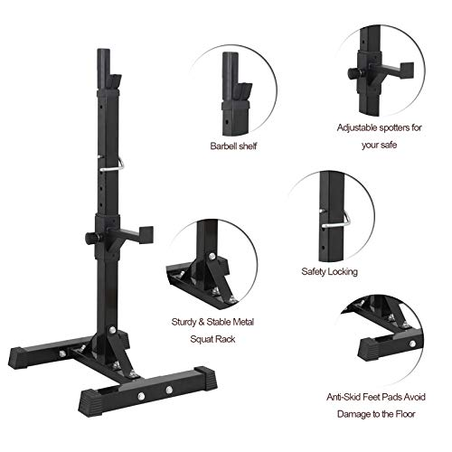 ZENY Pair of Adjustable Squat Rack Stand Barbell Free Press Bench Home Gym Dumbbell Racks Stands 41-46in