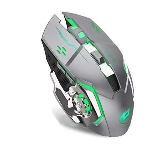ZERODATE Kabellose Gaming-Maus 2,4GHz mit USB Nano Empfänger,7-Farbiger Beleuchtung, Wiederaufladbar (600 mAh Akku) (M70 Grau)