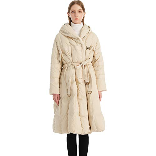 Krismile damesjas met capuchon A-lijn donsjack, 90% Down Parka Puffer lange jurk jas met tailleband