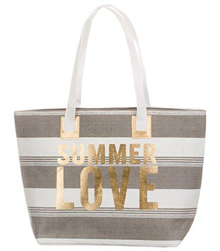 Bari BRANDSSELLER torba plażowa lato Love damska torba na ramię Shopper lato torba zamknięcie na zatrzask rozmiar 54 x 18 x 35 cm, szary - antracytowy - 54/18/35 cm