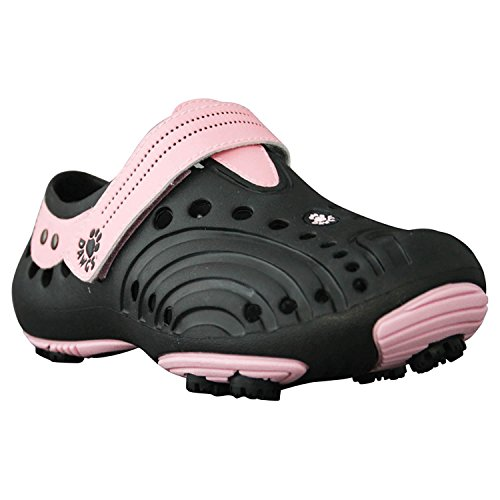 DAWGS Girls' Spirit Golf Shoes - Black with Soft Pink