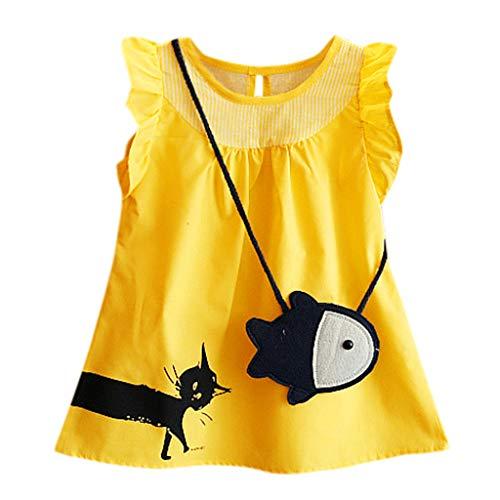 INLLADDY Kleid Mädchen Einfarbig Niedlichen Cartoon Katze Print Rock+ kleine Fische Umhängetasche Gelb 3-4 Jahre