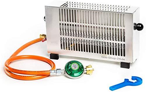 1,7 kW Zeltheizung mit Zündsicherung/Mini Gasheizung Aluminium mit Gasschlauch, Druckminderer (Angler Heizung, Campingheizung, Outdoorheizung, Outdoor, Camping, Zelt)