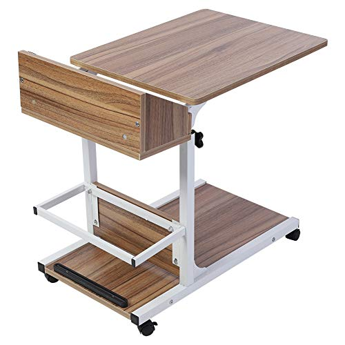 C-Shaped End Side Coffee Table Multifunctional Sofa Snack C Table Removable Laptop Desk Modern Wood Sofa Side End Table with White Drawer and Wheels for Laptop, Adjustable(Ancient oak)