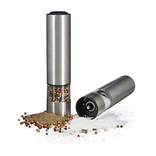 Relaxdays elektrische pepermolen set van 2 met licht, peper- en zoutmolen, roestvrij staal, keramische maalwerk, werkt op batterijen, zilver