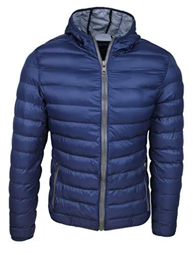Evoga Piumino Uomo Trade Invernale Casual Giacca Giubbotto Slim Fit con Cappuccio (s, Blu)