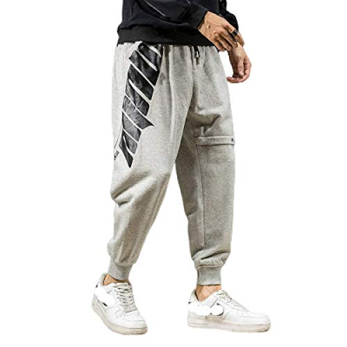 Capabes Men's Drawstring Lightweight Running Trousers, Personalized Letter Printed Training Workout Fitness Exercise Sweatpants 3XL Gray
