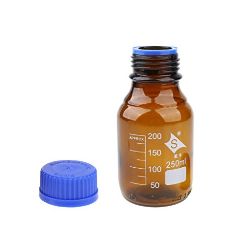 1 Stück Rund Reagenzflasche Borosilikatglas Laborflasche mit Schraubverschluss graduiert -Stoßfestigkeit und Hitzebeständigkeit - 250ml