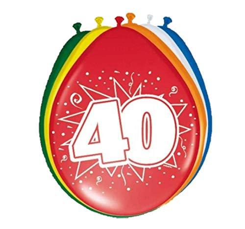Folat 08240 40 Verjaardag ballonnen verschillende kleuren 8 stuks, meerkleurig