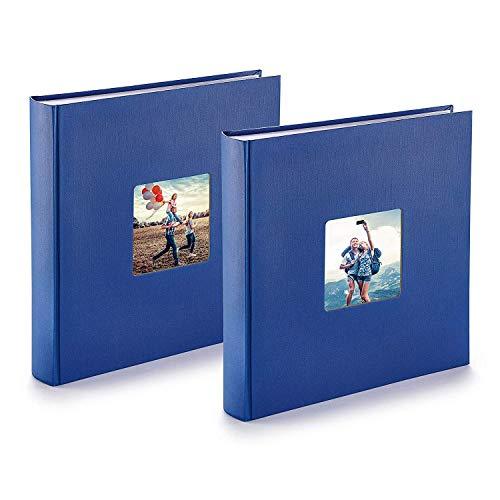 PAZZiMO Álbum de fotos para pegar azul, pack de 2, álbum de fotos 30x30 cm XXL para 400 fotos, con papel de pergamino, álbum fotos 10x15 con ventana en la portada