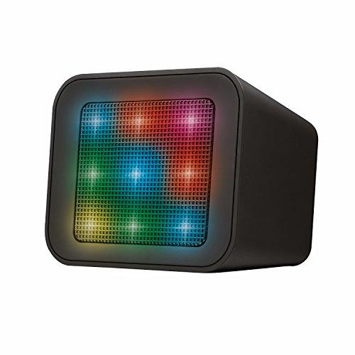 Trust Dixxo Cube Beleuchteter Bluetooth Lautsprecher (kabellos, Bluetooth, 3,5 mm aux-Eingang, Mikro-SD oder USB) schwarz