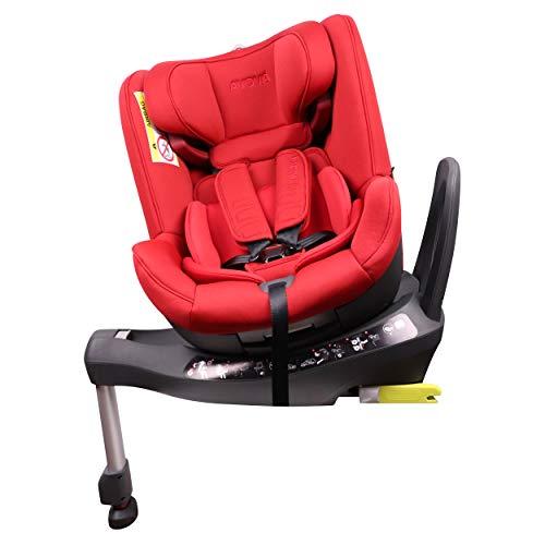 AVOVA Swan-Fix seggiolino auto girevole a 360° Gruppo 0+/1/2 ISOFIX 0-25 kg da 0-7 anni, Rosso Acero