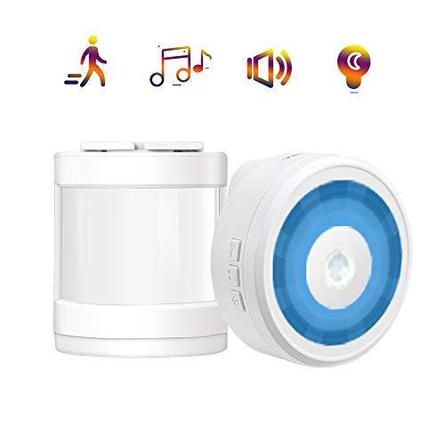 Sensor de Movimiento con Alarma, YIROKA Detección de Timbre de Puerta, Alarma de Seguridad para el Hogar con Receptor - 58 Melodías con 4 Niveles de Volumen con Luz de Noche LED