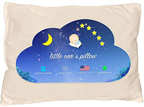 Little One's Pillow - Toddler Pillow, Delicate Organic Cotton Shell, Handcrafted in USA - Soft and Supportive, Washable 13 X 18