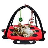 4ハンギングぬいぐるみからかうおもちゃ、ポータブルペットパティオテント、折り畳み式のデザイン外キティや猫、子猫のための玩具に建てられ、及びその他の小動物と猫の遊びと睡眠テント! lsmaa