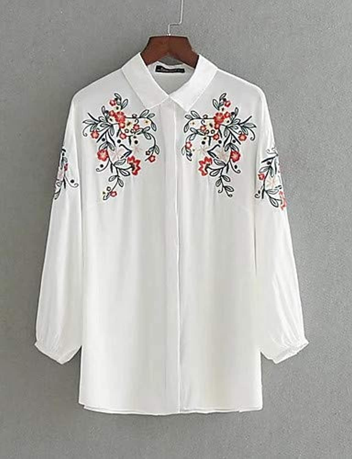 Women's Basic Cotton Shirt  Floral Embroidered Shirt Collar