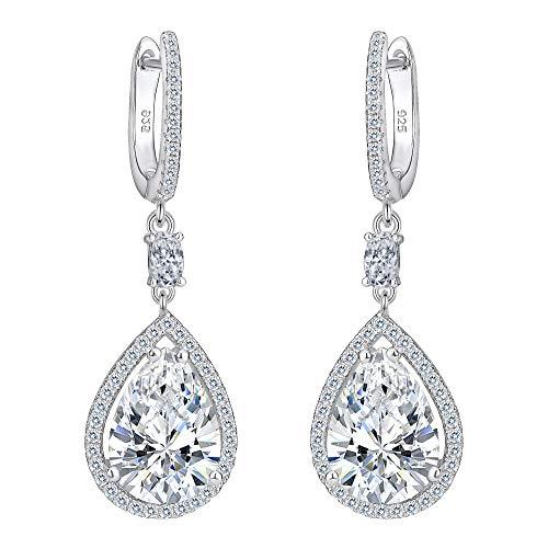 EVER FAITH® Damen 925 Sterling Silber Cubic Zirkonia Hochzeit Tropfen Pierced Dangle Ohrringe klar