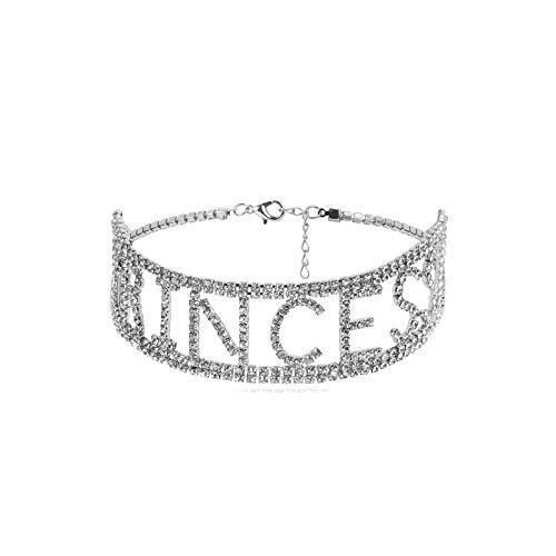 Epinki Damen Halskette aus Legierung, Princess Anhänger Damenkette Brautschmuck mit Cubic-Zirkonia Silber 41.5CM