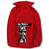 Hangdachang Astronomical Telescope Christmas Drawstring Bag, I Love Heart Computer Animation Xmas Wrapping Beam Bags Christmas Goodie Sack for Birthday Party