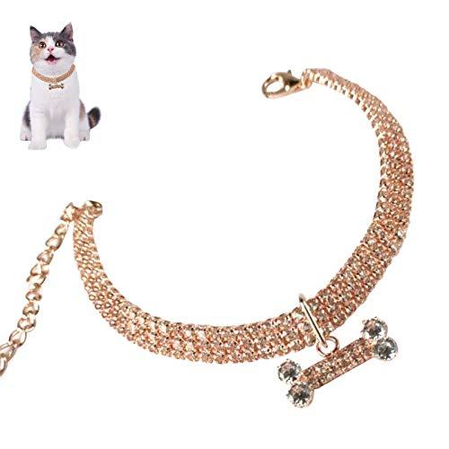Non/Brand Dzmuero Collar Gato,Collar para Mascota Ajustables Collar de Oro Rosa para Mascotas Collar de Imitación de Diamantes Elástico Collares para Gatos Pequeños Conejos Fiestas de Cachorros Bodas