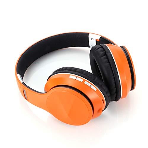 Wsaman Auriculares para DJ, Carga Rápida Auriculares Bluetooth, con Micrófono Integrado Inalambricos Cascos, para Deportes, Oficina en Casa, Trabajo,Naranja